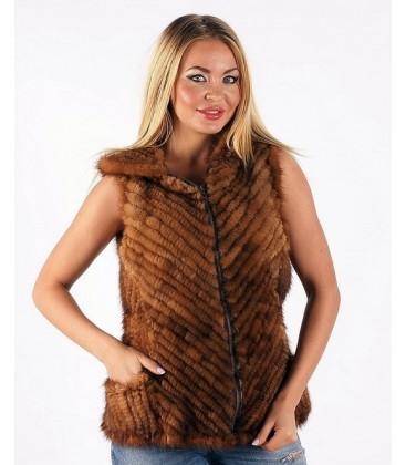 Жилет из вязаной норки