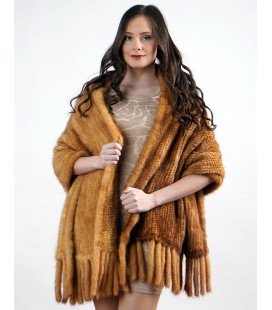 Палантин из вязаной норки светло-золотистый 60 см