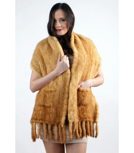 0704 Палантин из вязаной норки светло-золотистый с карманом