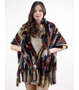 Палантин из вязаной норки KENZO темный 60 см