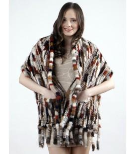 Палантин из вязаной норки KENZO светлый 40 см