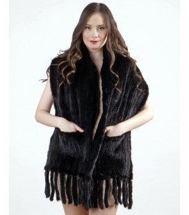 0702 Палантин из вязаной норки 40 см черный с карманами