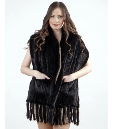 Палантин из вязаной норки черный с карманами