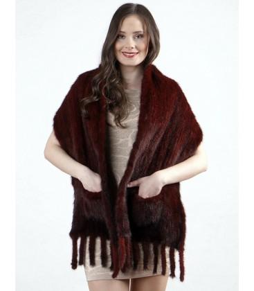 Палантин из вязаной норки бордовый 40 см
