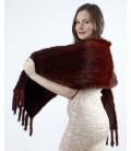 0705 Палантин из вязаной норки 40 см бордовый