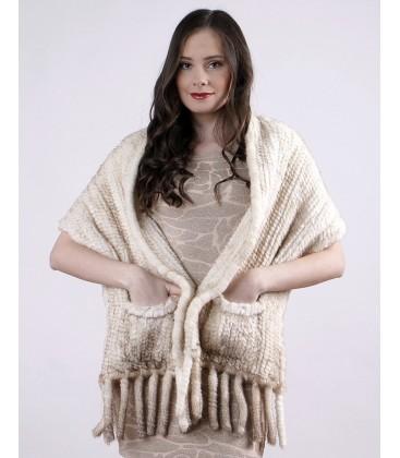 Палантин из вязаной норки светло-серебристый 40 см