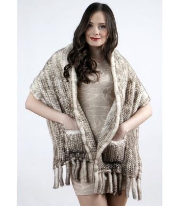 Палантин из вязаной норки темно-серебристый 40 см