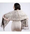 0709 Палантин из вязаной норки темно-серебристый