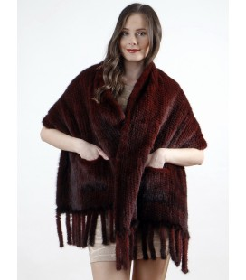 Палантин из вязаной норки бордовый 60 см
