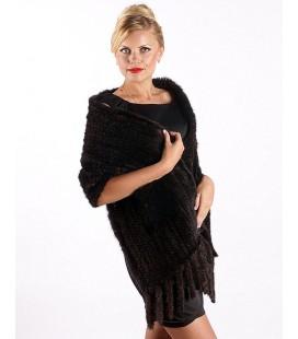 Палантин из вязаной норки 40 см махагон с карманами