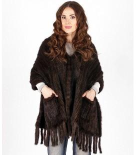 0725 Палантин из вязаной норки 60 см махагон с карманами