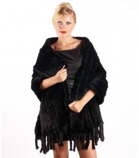 0726 Палантин из вязаной норки 60 см черный с карманами