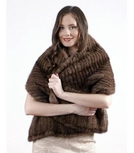 0749 Палантин из вязаной норки елочка орех