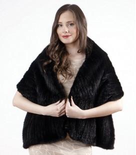 0750 Палантин из вязаной норки елочка черный.