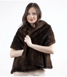 0751 Палантин из вязаной норки елочка орех темный