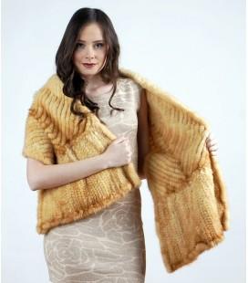 0752 Палантин из вязаной норки елочка светло-золотистый