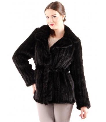 Куртка из вязаной норки английский воротник черная