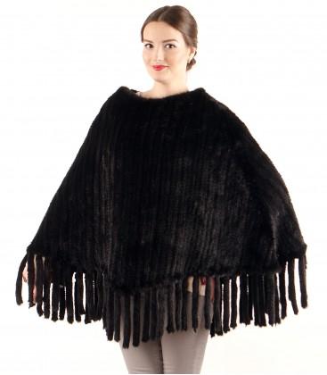 Пончо из вязаной норки продольное черное.