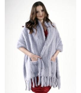 Палантин из вязаной норки 60 см голубой жемчуг.