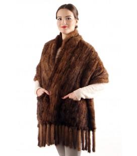 Палантин из вязаной норки, орех 60 см