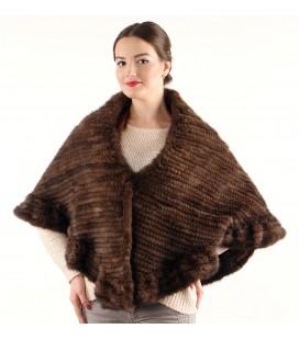 0744 Палантин накидка из вязаной норки махагон.