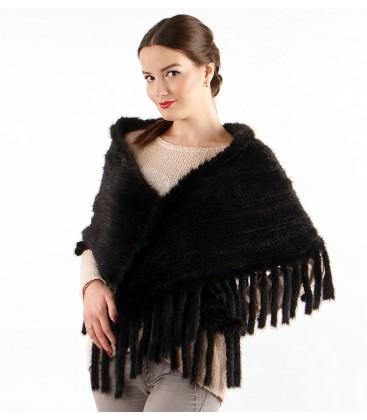 Палантин косынка из вязаной норки черный.