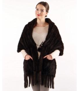 0746 Палантин накидка из вязаной норки 50 см с карманами махагон.