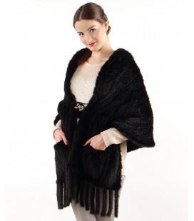 0745 Палантин накидка из вязаной норки 50 см с карманами черный