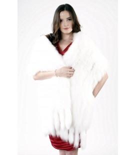 0611 Накидка из вязаного песца белая 40 см.