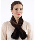 2101 Шарфик-розочка из вязаной норки, орех темный