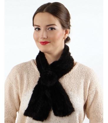 Шарфик-розочка из вязаной норки, черный