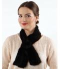 2102 Шарфик-розочка из вязаной норки, черный