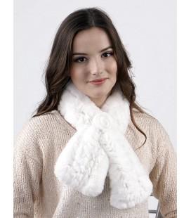 2108 Шарфик из вязаного кролика белый