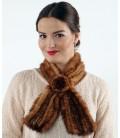 2103 Шарфик-розочка из вязаной норки рыжий