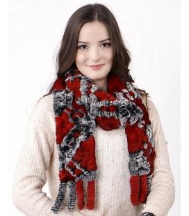 2120 Шарф из вязаного кролика красно-серый