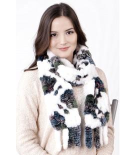 2122 Шарф из вязаного кролика бело-серый