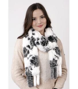 2125 Шарф из вязаного кролика бело-серый