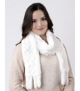 2126 Шарф из вязаного кролика белый