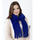 2127 Шарф из вязаного кролика синий