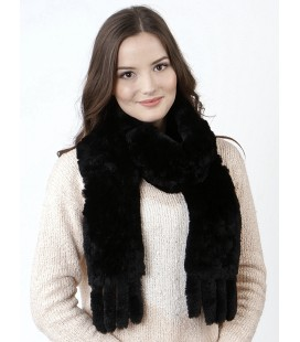 2130 Шарф из вязаного кролика черный