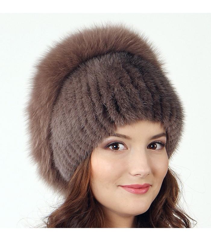 Вязаные меховые шапки купить в москве
