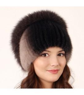 1028 Меховая шапка на вязаной основе из норки.