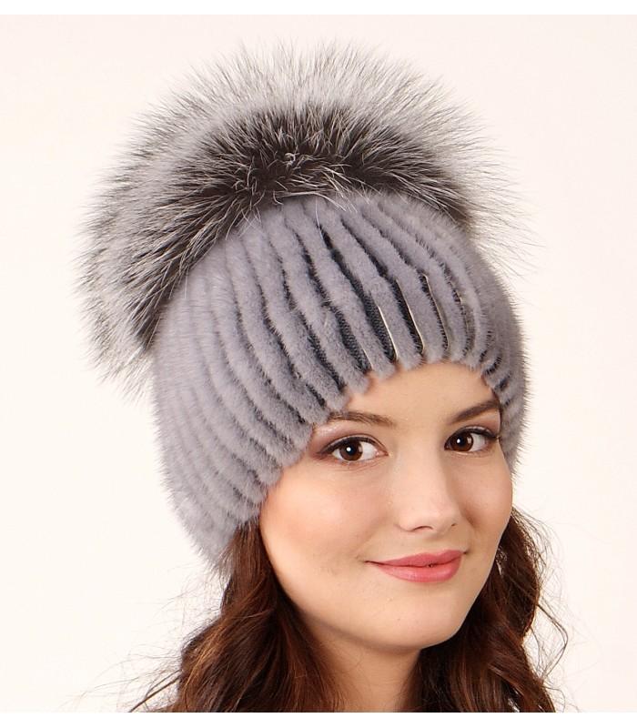 1029 меховая шапка на вязаной основе из норки лекс маркет