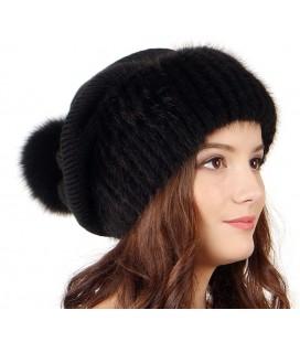 1031 Меховая шапка на вязаной основе из норки.