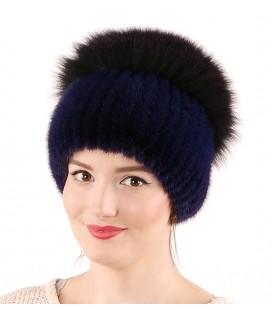 1036 Меховая шапка на вязаной основе.
