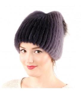 1038 Меховая шапка на вязаной основе из норки.