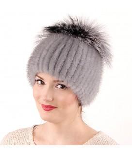 1041 Меховая шапка из норки на вязаной основе из норки.