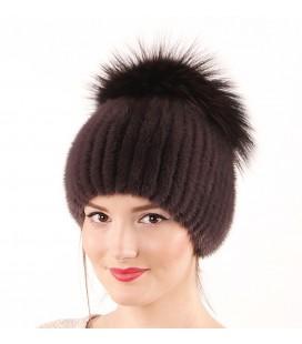 1043 Меховая шапка из норки на вязаной основе из норки.