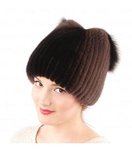 1044 Меховая шапка из норки на вязаной основе из норки.