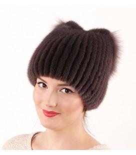 1045 Меховая шапка из норки на вязаной основе из норки.